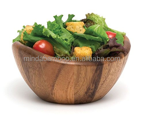 Custom wholesale kitchen food grade 100% acacia wooden small salad mixing bowls