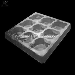 2018 china suppliers transparent blister packaging plastic food tray take away food container for cupcake cake