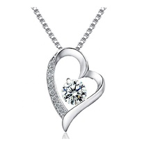 925 Sterling Silver Forever Lover Heart 펜 던 트 Necklace 와 상자 체인