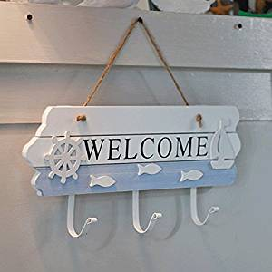 CCWY The Mediterranean welcome card coat hook decorated hooks after adhering the tone of the creative garment hook Coat Hook