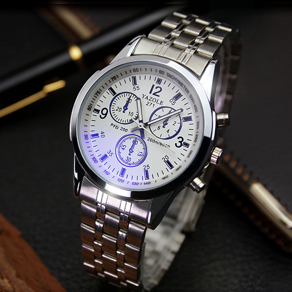YAZOLE D271 High Quality Blue Glass Luminous Fashion Wristwatch Watches Men Stainless Steel Back Water Resistant Watch фото