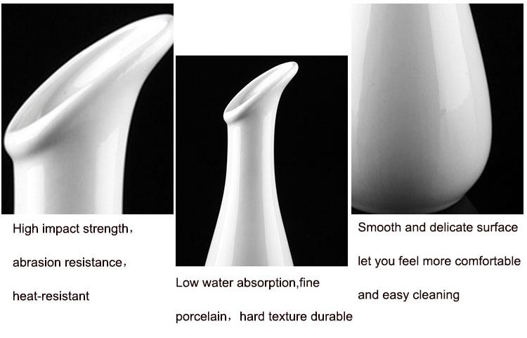 P&T Royal Ware White Ceramic Porcelain Flower Vase for Hotel Restaurant Table