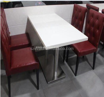 White Quartz Stone Top Dining Table Base Square Two Seat Table And