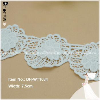 3d Flower Cotton Fabric Lace Trim And Border Dh-wt1684