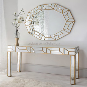 Hot sale antique design curved glass acrylic foyer console table with mirror