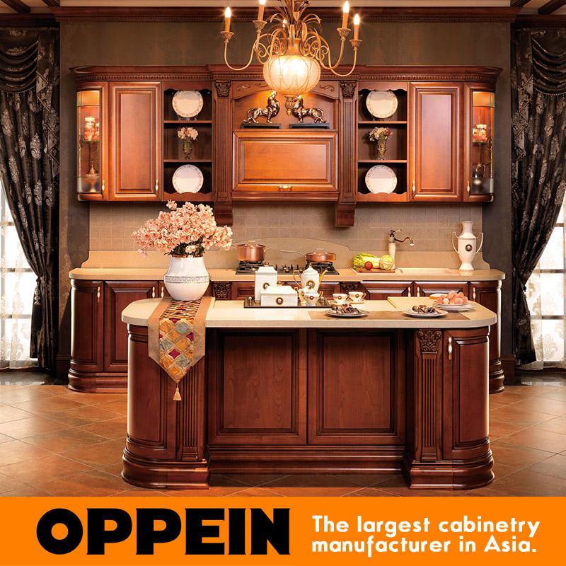 oppein stile europeo di lusso in legno massello armadio da cucina ... - Cucina Di Design Armadio Di Lusso