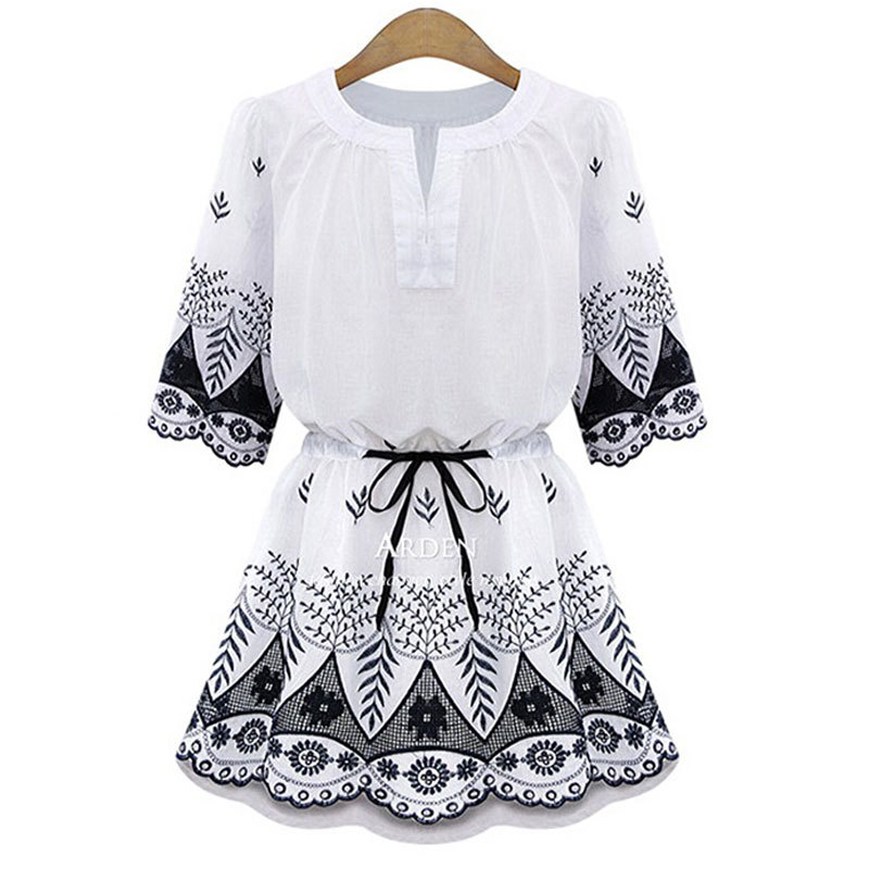 82782cd7d022 Chinese Style Retro Women Summer Blue and White Embroidery Mini Short Dress  Dresses Half Sleeve Cotton for Womens Girls