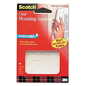 Scotch : Mounting Squares, Precut, Removable, 11/16 x 11/16, Clear, 35/pack -:- Sold as 2 Packs of - 35 - / - Total of 70 Each