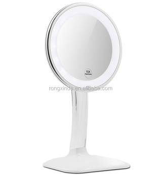 Round Ring Light 10x Magnifying Lighted Makeup Mirror With Acrylic