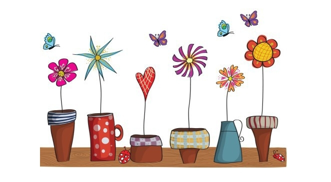 Free Shipping New design Vinyl Wall Stickers Cartoon flower pots Home decoration Wall decals for Kids Nursery Living Rooms