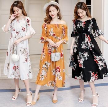 X81451b 2018 Spring Korean Fashion Maternity Dress Chiffon Flower