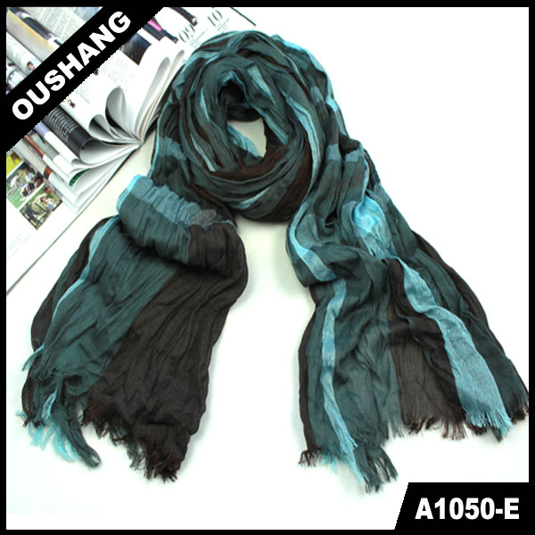 A1050-E Lady Elegant Ruffle Striped Pattern Long Scarf