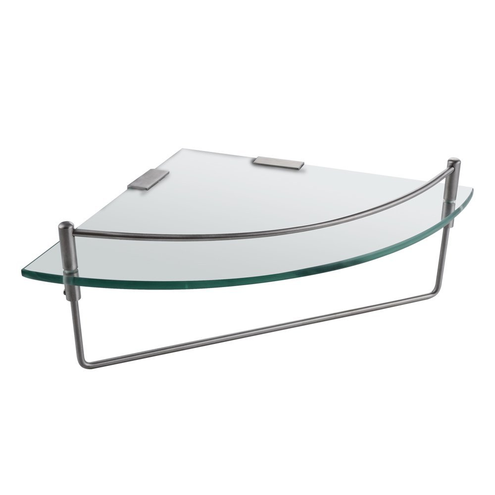 KES Bathroom Corner Glass Shelf Triangle Wall Shower Shelf Corner Shower Caddy Tempered Glass and SUS 304 Stainless Steel Wall Mount, BGS2101A-2