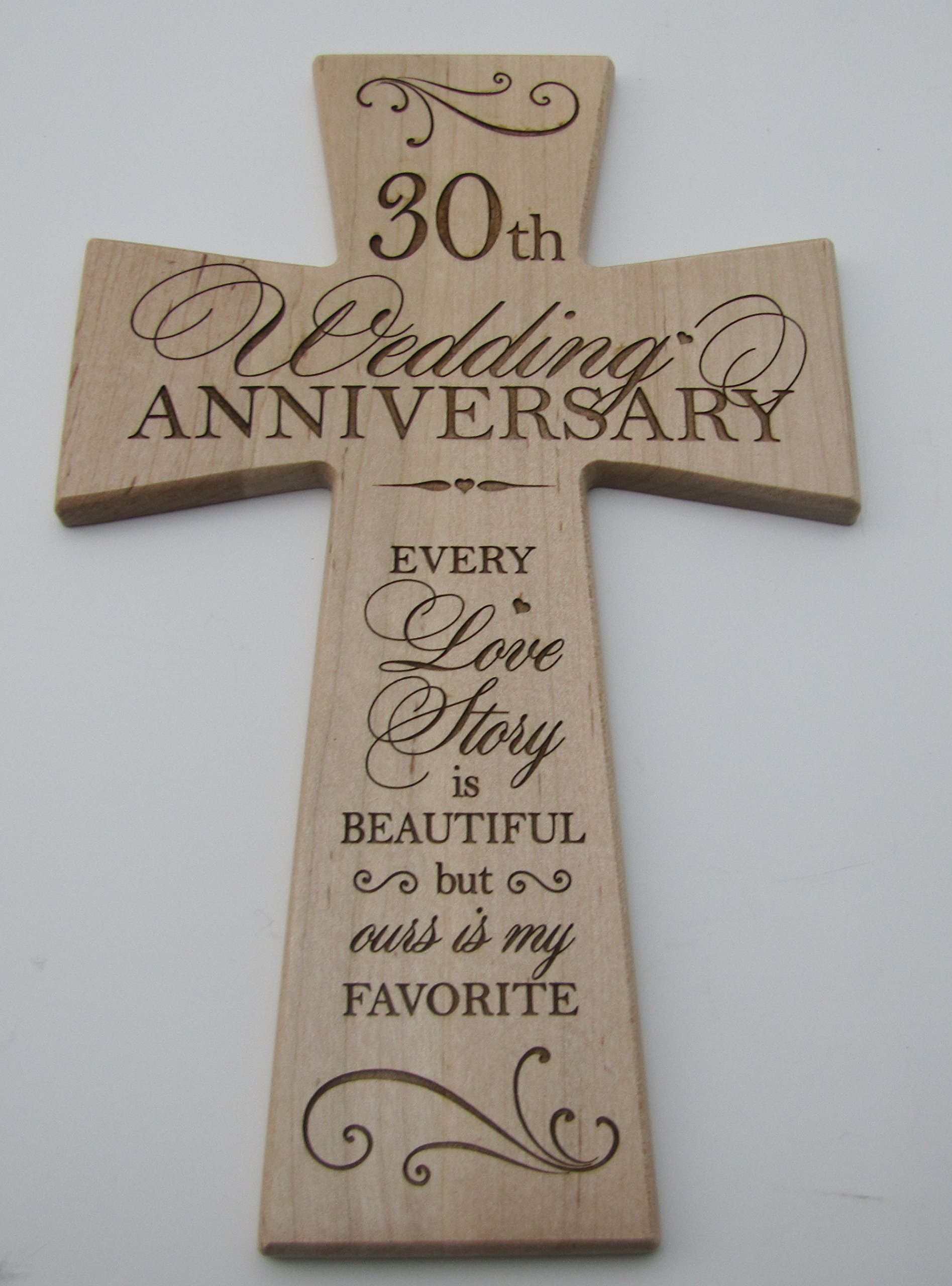 Get Quotations 30th Wedding Anniversary Maple Wood Wall Cross Gift For 30 Year Gifts