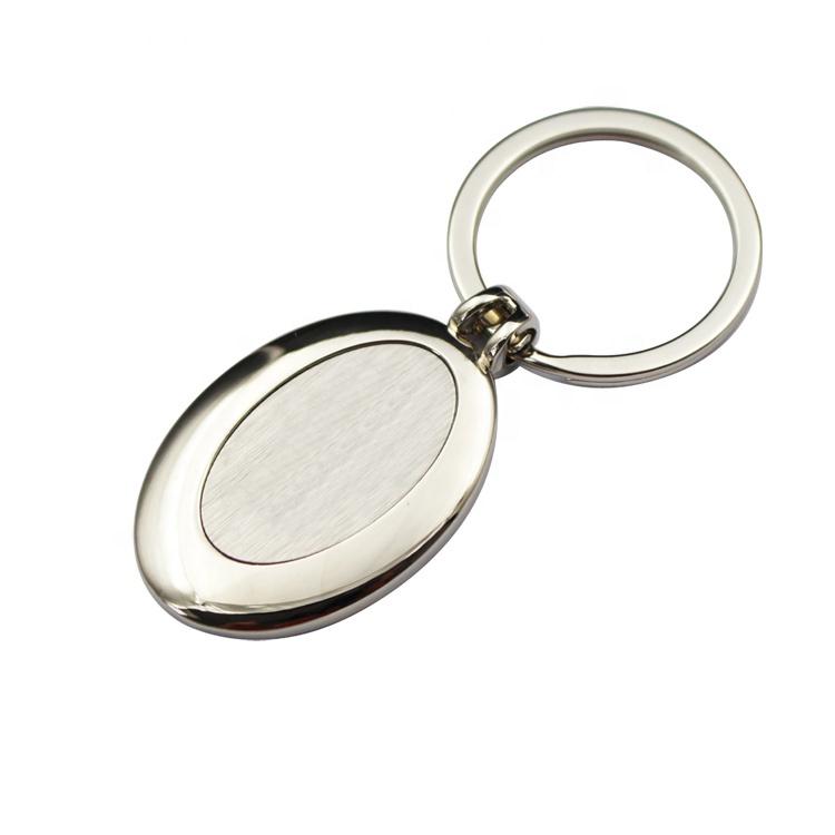sublimation laser printing logo blank nickel plate metal Zinc Alloy keychain / key ring