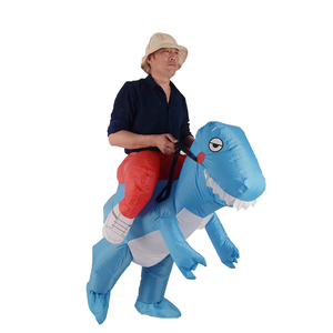 Night club party adult suit funny riding animal inflatable blue dinosaur trex costume
