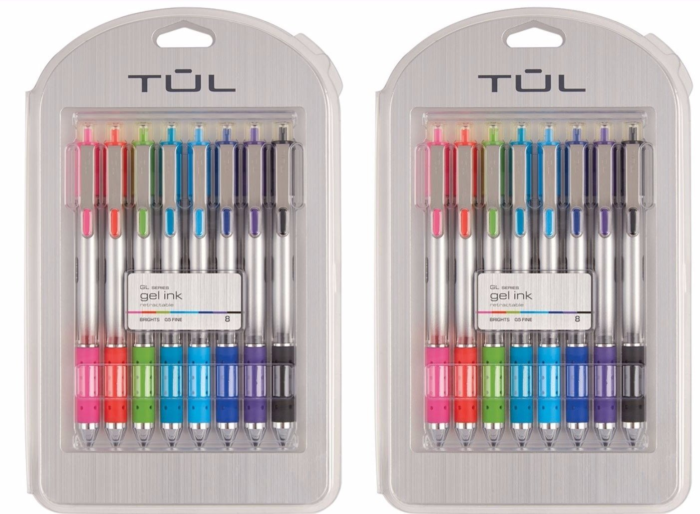 Tul (TM) Retractable Gel Pens, FinePoint, 0.5 mm, Assorted Ink, GL Series (16 Count)