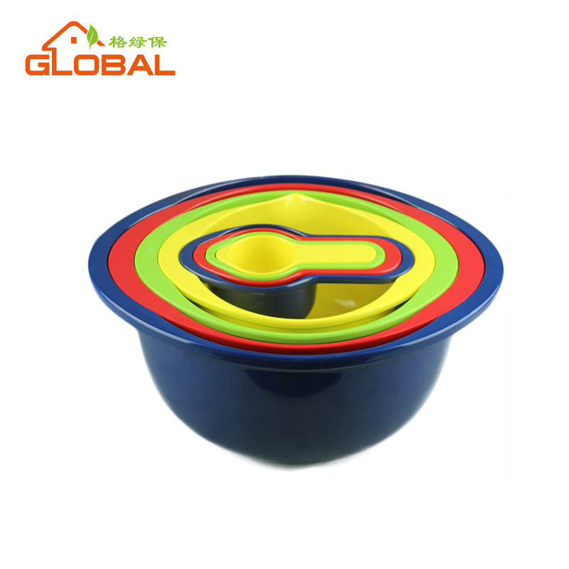 New arrival melamine nesting bowl set with measuring cup and spoon