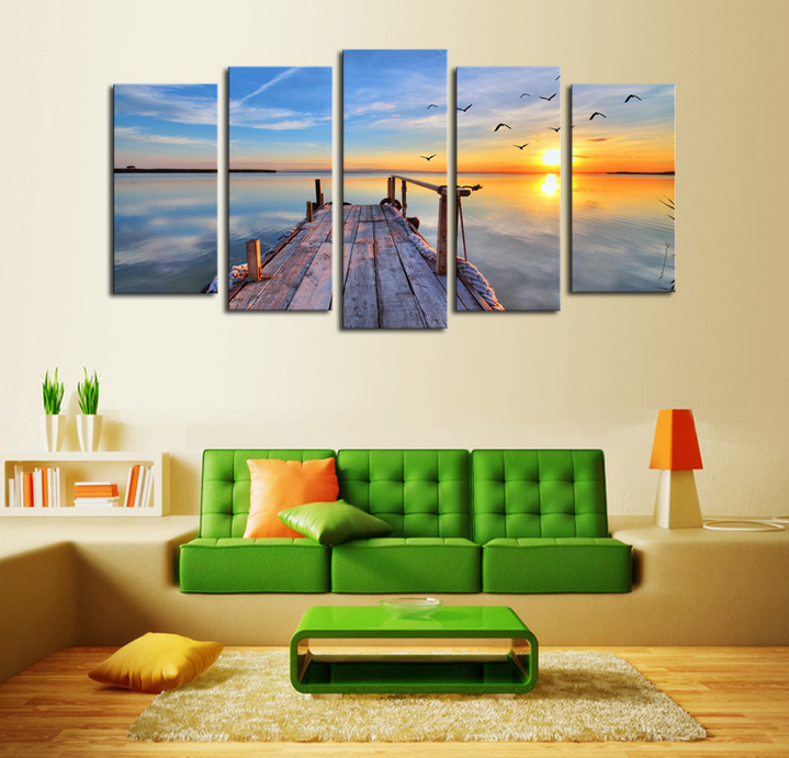 Unframed 5 Panels Sunset Seascape Scenery Picture Print Painting Modern Canvas Wall Art for Wall Decor Home Decoration Artwork