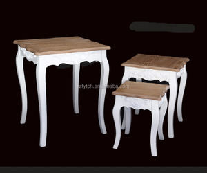 3 Piece carved wooden nesting tables