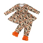 Wholesale baby girls clothing sets Halloween pumpkin kids dress sets match ruffle pants