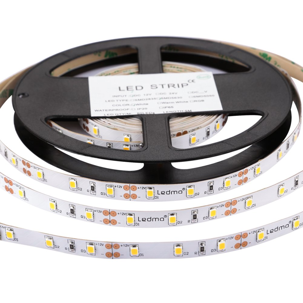 LEDMO LED Strip Light, DC12V Non-Waterproof LED Strip,Daylight White,16.4Ft