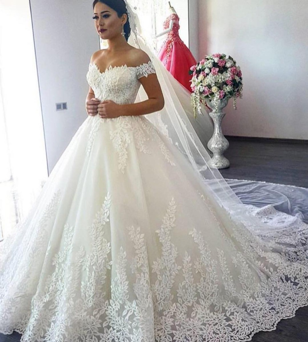 Ne119 Elegant Lace Ball Gown Long Sleeve Wedding Dresses 2019