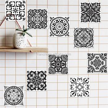 bloem pure zwart wit patroon tegels stickers parel film keramische tegel badkamer keuken waterdicht wandtegel