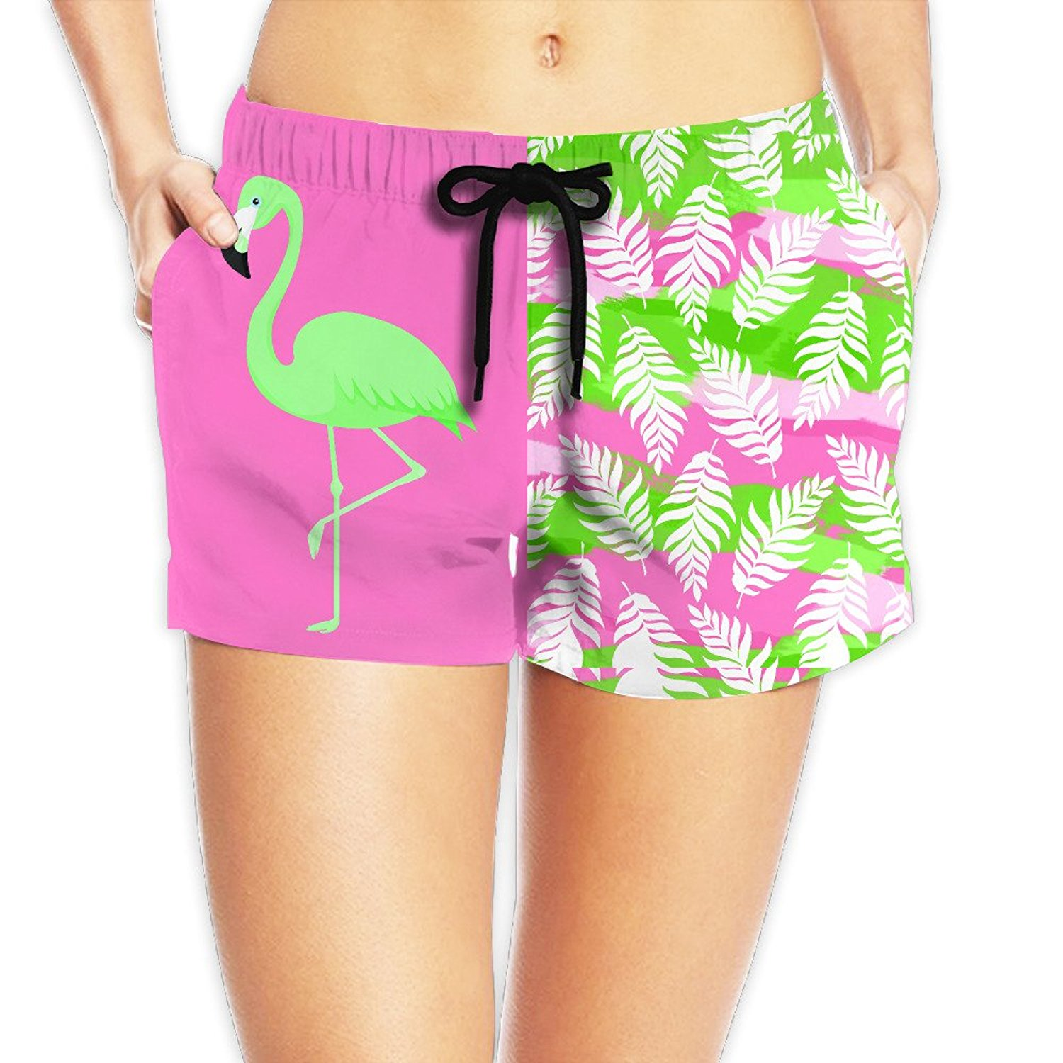 AS-WALL Womens Quick Dry Green Flamingo Beach Shorts Surf Board Bathing Suits Holiday Swim Trunks