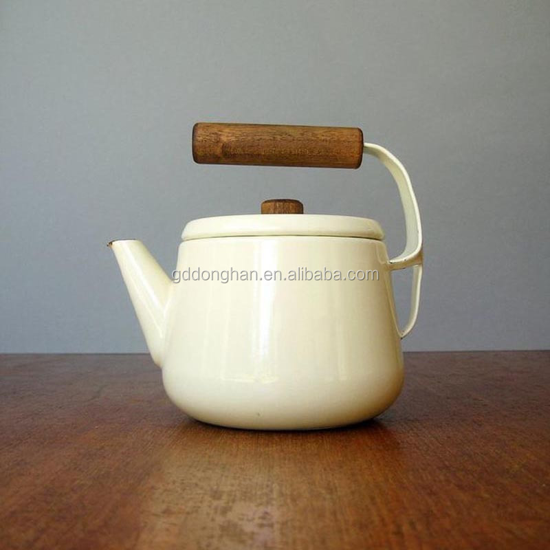 China white small tea pot with safety wooden handle