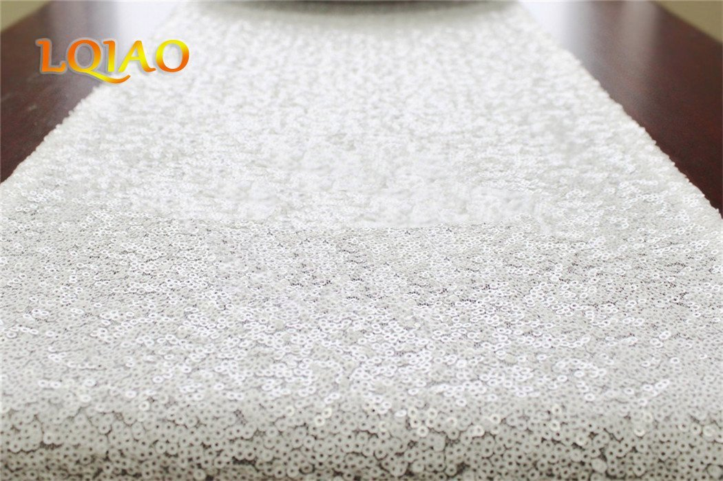 Factory Selling 8PCS White Sequin Table Runner-12x108in Sparkly Table Runner Tablecloth, Wedding Table Decoration Shiny Table Runner Decoration