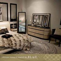 Solid wood modern design bedroom set unfinished furniture JB02-02 from JL&C Furniture