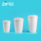 Disposable double wall White Cardboard Paper Hot Cups for Drinks and Coffee