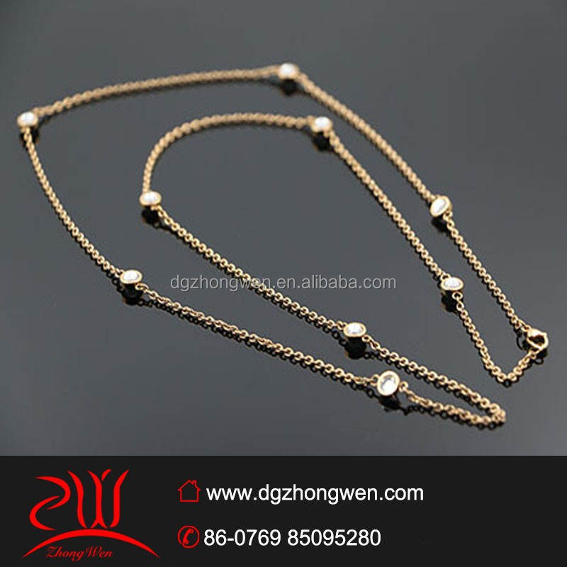 18kgp rose gold stainless steel crystal necklace