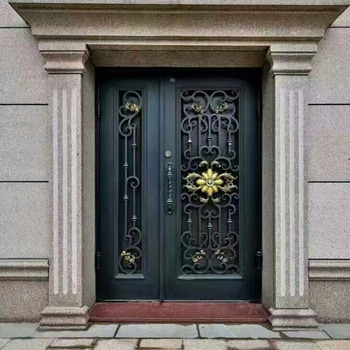 Modern Elegant House Exterior Front Entry Single Square Wrought Iron on