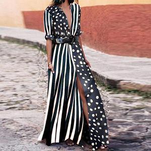 2019 Boho Dresses Women Fashion Evening Party Summer Beach Sundress Striped Shirt Long Maxi Dress