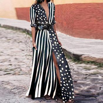 2019 Boho Dresses Women Fashion Evening Party Summer Beach Sundress Striped Shirt Long Maxi Dress