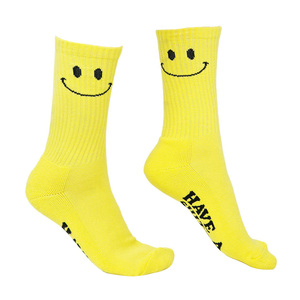 Funny Face Yellow Cotton Socks