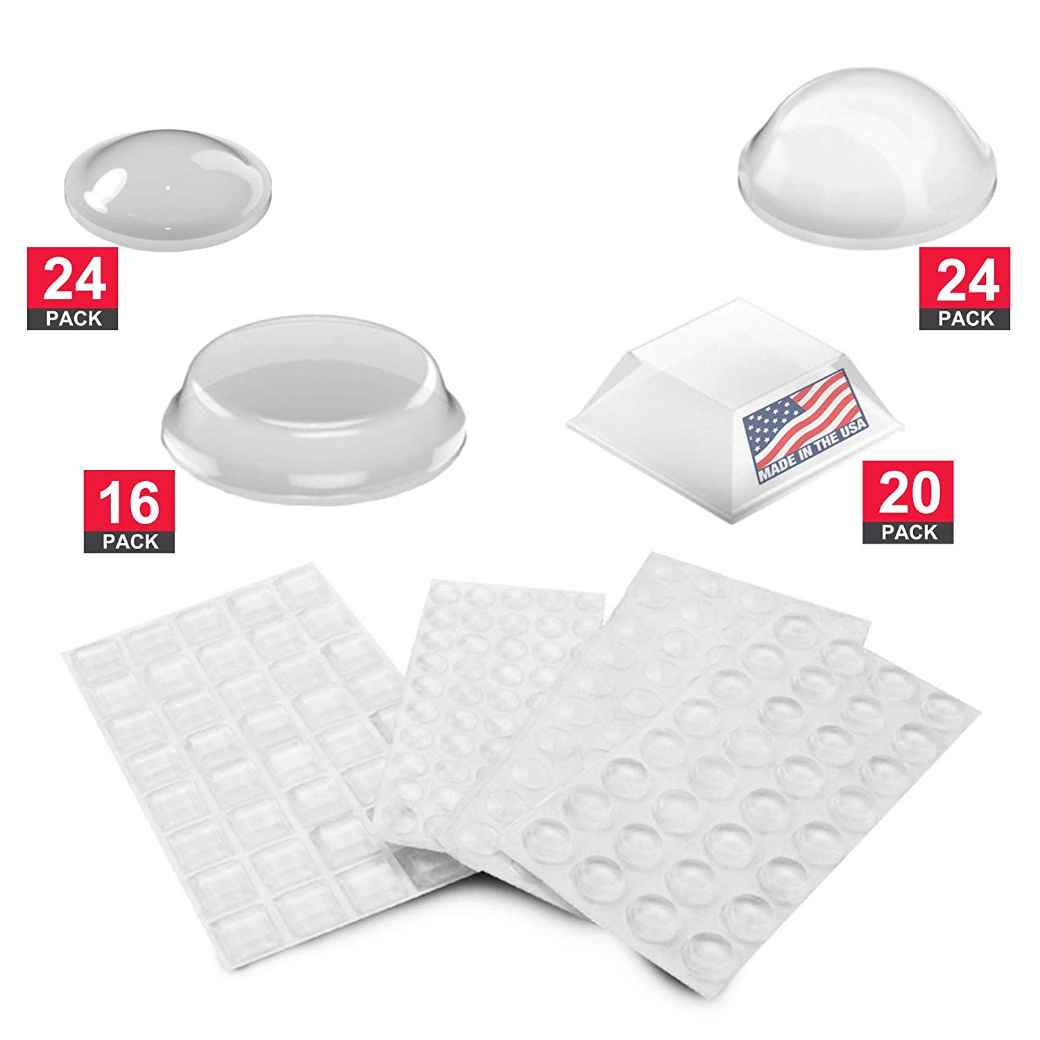 3M Self Adhesive Rubber Bumper Pads : Sound Dampening and Non-Skid Feet for Small Electronic Device, Cabinet Doors, Drawers, Picture Frames, Cutting Boards, Clear, 84-PCs by Volarium