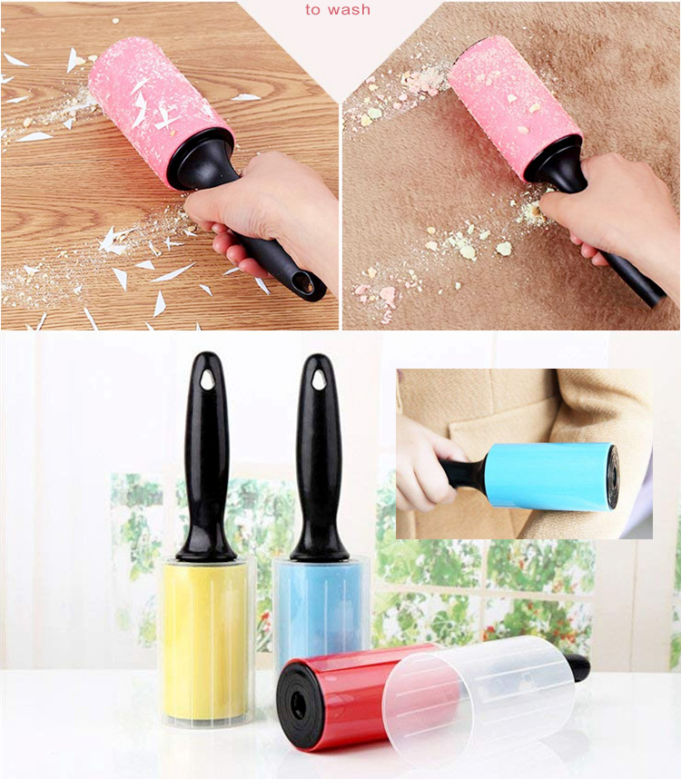 Wasbare Siliconen Sticky Haar Lint Rollers Remover Borstel Stof Huisdier Roller Sticky met Cover