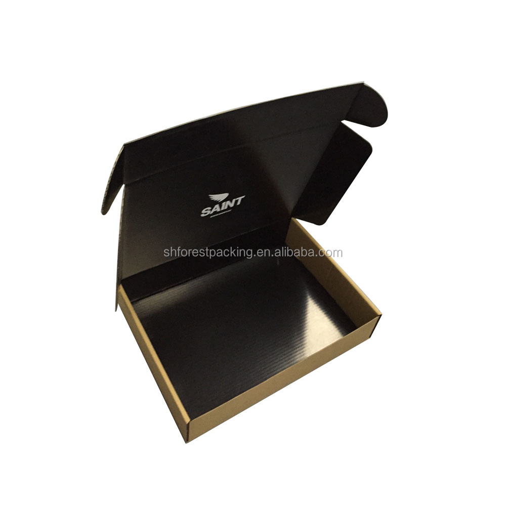 custom black corrugated paper shipping box mail box for garment blanket