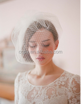 Beautiful Top Quality Women Plain Ivory Wedding Bridal Hats Birdcage Veil Face With