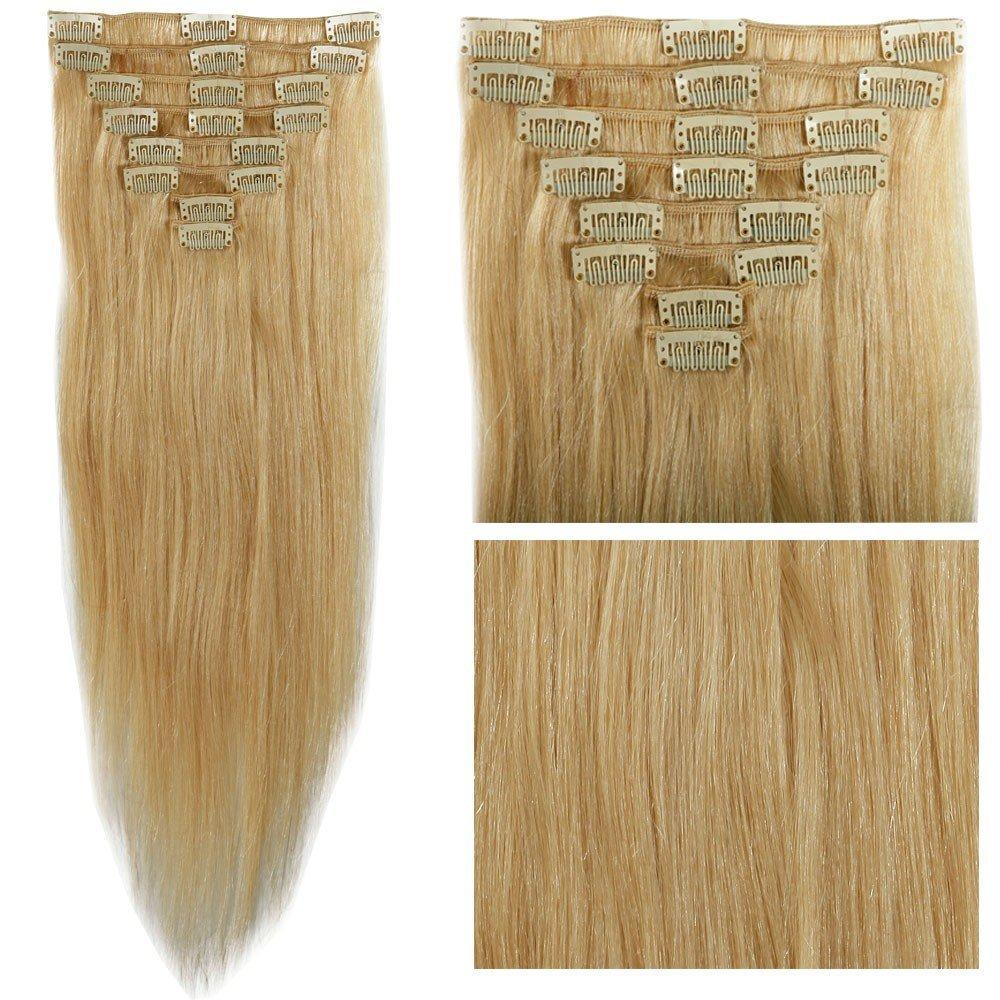 "s-noilite70g-120g Clip in 100% Remy Human Hair Extensions Full Head Long Straight Silky Grade AAAAAAA 10"" 13"" 16"" 18"" 20"" 22"" 24"" Bleach Blonde #613(20"",105g)"