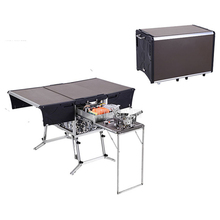 5-7 persoon Outdoor Mobiele Keuken Opvouwbare Outdoor <span class=keywords><strong>Gasfornuis</strong></span> Bureau Wandelen Camping Gas Branders Fornuis + Voorruit c550