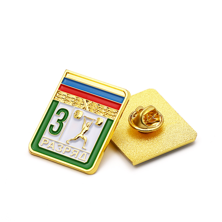 Free sample gold plating hard enamel custom  Weightlifting sports metal lapel pin