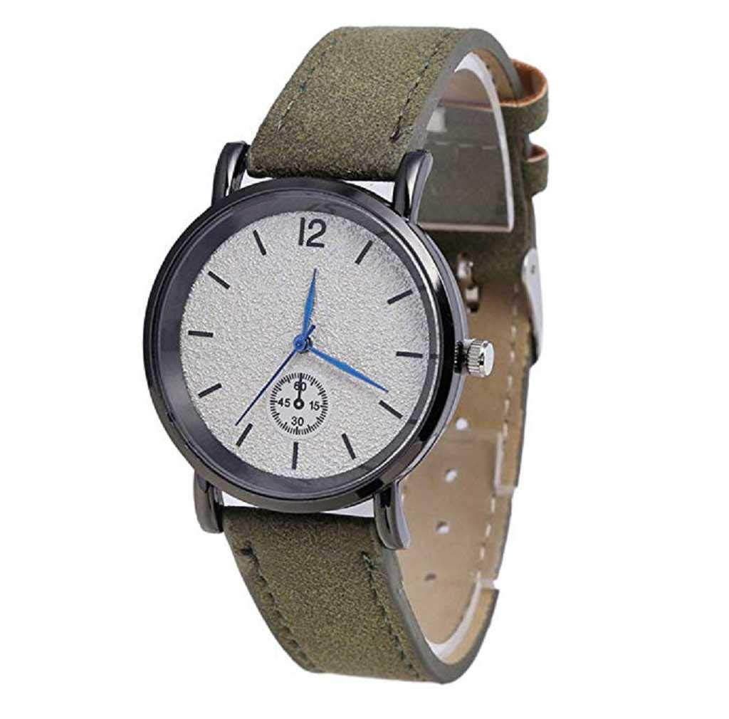 Clearance Sale! Womens Watches,ICHQ Womens Quartz Watches Fashion Elegant Quartz Analog Business Leisure Wristwatch Round Dial Scrub Leather Band (Army Green)