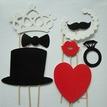 Wholesale Wedding Party Supplies Crown Photo Booth Props On A Stick Moustache And Lips Hat Decoration