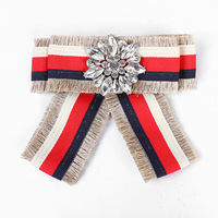 Multicolored striped bow fringed drilled female Brooch for intellectualized workplace