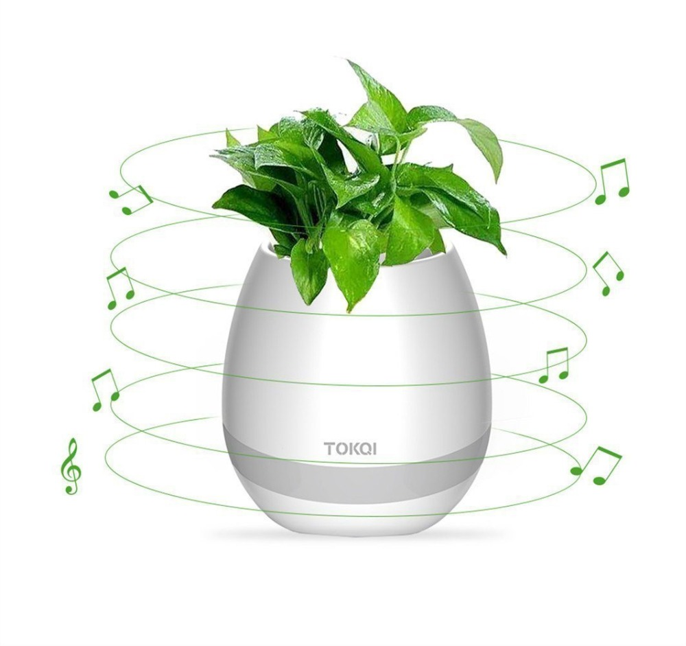 Smart Flower Pot Bluetooth Music Speaker, Planter with Multi-color LED Night Light