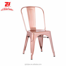 Popular Rose Gold Frame Metal Dining Chair Restaurant Chairs ZJT12L